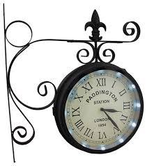 double sided paddington station solar powered led lighted wall clock