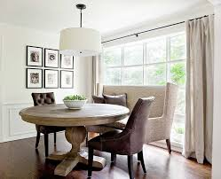 curved settee for round dining trends including awesome table images