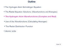 outline the hydrogen atom schrödinger equation the radial equation solutions wavefunctions and
