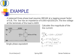 example a balanced three phase load requires 480 kw at a lagging power factor