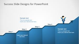 Step Chart In Powerpoint Success In Four Steps Powerpoint Slides