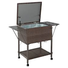Table Drinks Cooler Portable Rattan Cooler Cart Trolley Outdoor Patio Pool Party Ice