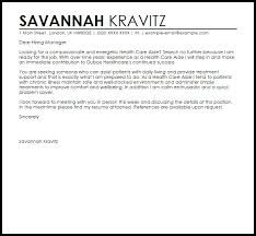 sample cover letter for health care aide best examples