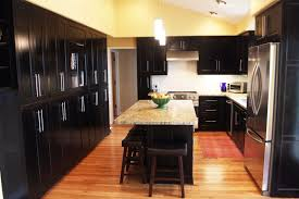 dark kitchen cabinets with dark wood floors pictures 4 hole double bowl kitchen sink in biscuit kitchen island with storage ceramic floor and wall tile in