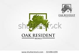 homes logo designs. vector logo design template of oak tree and house that made from a simple scratch. homes designs
