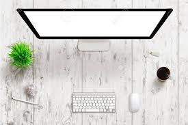 white wood office desk. Office Desk With White Wooden Texture In Background. Computer Display Isolated Screen For Mockup Wood