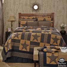 Blue Brown Primitive Plaid Star Rustic Western Country Home Quilt ... & Blue Brown Primitive Plaid Star Rustic Western Country Home Quilt Bedding  Set Adamdwight.com
