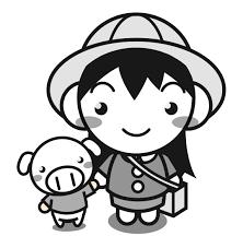 かわいい豚と手をつなぐ幼稚園児イラスト女の子かわいいフリー素材