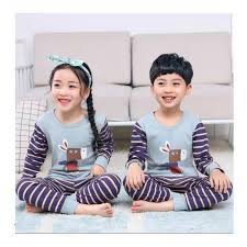 Bộ mặc ở nhà dài tay in hình ngựa vằn cho bé trai và bé gái từ 3 - 10 tuổi  - Đồ bộ bé gái Hãng OEM