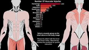 Injury Location Chart Body Map Muscular Injuries In The English Premier League Tableau Public
