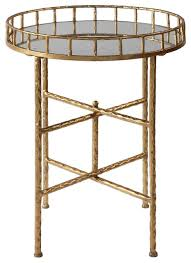 elegant textured gold tall round accent table tray top bar cocktail metal