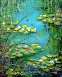 water lilies painting fairy tale water lilies pond by carla parris