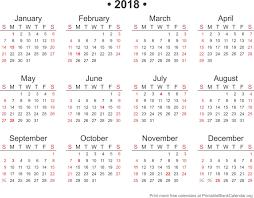 2018 Free Annual Calendar Template Printable Blank Org Showy