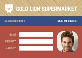 Id Cards Template Colorful Lion Supermarket Grocery Membership Id Card Templates By