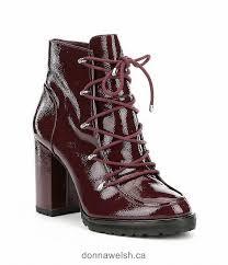 gb rock fest patent leather lace up block heel hiker booties women oxblood