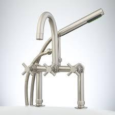 sebastian deckmount tub faucet and hand shower  cross handles