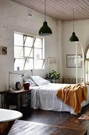 industrial bedroom with brick walls