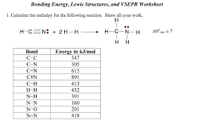 Lewis Structure Worksheets With Answers Solved Bonding Energy Lewis Structures And Vsepr Worksh