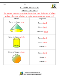 3d Shapes Edges Vertices And Faces Chart 3d Shapes Worksheets