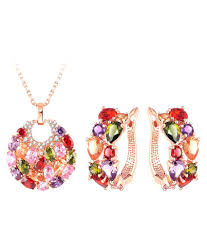 jewels galaxy new arrival stunning 18k rose gold plated top quality aaa swiss cubic zirconia pendant earrings set for women girls jewels galaxy new