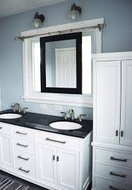 white bathroom cabinets with dark countertops. Color Scheme Beautiful Master Bathroom Renovation, White With Dark Countertops, And A Smart Sliding Mirror Over The Window Above Sink Cabinets Countertops