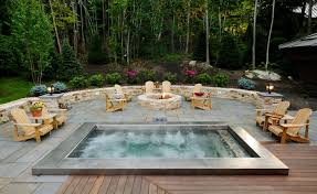 patio designs with fire pit and hot tub. A Beautiful Design For Any Man\u0027s Backyard. The Fire Pit Is Also Good Addition To Whole Setup As It Gives You More Relaxed Environment. Patio Designs With And Hot Tub