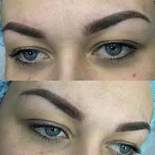 пудровый татуаж бровей акварельные губы межресничный контур глаз