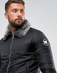 men s good for nothing er jacket in black with faux fur collar n79r3