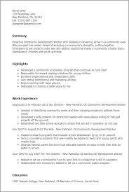 resume templates community development worker child development resume