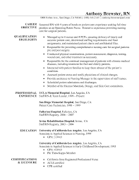Objectives For Resumes Nursing Nurse Resume Lynn Rn Examplestive