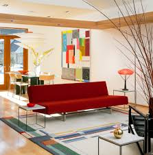 Living Room With Red Sofa Modern Red Sofa Living Room Modern With Area Rug Ceiling Lights