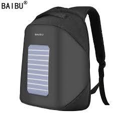 <b>BAIBU Men Backpack</b> 10W Solar Powered Designer <b>Backpack</b> Usb ...