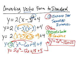 converting vertex form to standard form math algebra quadratic equations showme