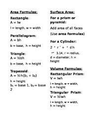 Formulas Sheet For Geometry Margarethaydon Com