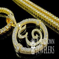 mens custom initial letter e lab diamond pendant necklace 1 row tennis chain set