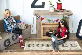 make your own barbie furniture. Reclaimed Wood Sofa, Laptop And Fireplace With A Stamped Placemat Carpet / Upcycled Dollhouse Furniture Make Your Own Barbie