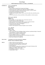 Driver Cdl Resume Samples Velvet Jobs