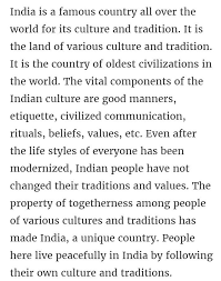 Culture Essay Essay On India Culture Brainly In