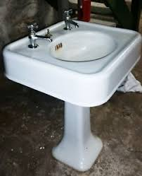 vintage pedestal sink. Exellent Vintage Image Is Loading WhiteAntiquePedestalSinkSquarewithfaucetVintage For Vintage Pedestal Sink EBay