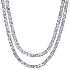 amazon men s hip hop lab created diamond 4 mm 2 bo set 20 22 tennis chain necklace silver toned sports outdoors