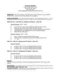 How To Write A Resume For Restaurant Job Manager Cv Fast Food No