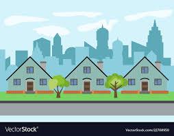 City With Three Cartoon Houses