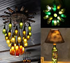 unique diy lighting. Recycled Bottles As Chandeliers And Lamps Empty Glass Can Make Awesome Chandeliers. A Single Bottle Even Unique Lamp. Diy Lighting