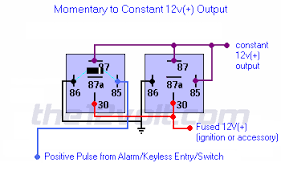 output momentary to constant output positive input positive output 12 Volt Latching Relay Diagram relay diagrams latched output momentary to constant output positive input positive output 12V Relay Diagram