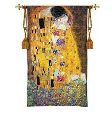 imported history gustav klimt the kiss woven tapestry features the work of the famous artist on most famous wall artist with gustav klimt the kiss tapestry wall hanging klimt tapestry and