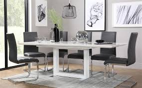 gallery tokyo white high gloss extending dining table and 6 chairs