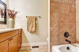 Simple Bathroom Interior With Tile Wall Trim Vanity With Granite - Simple bathroom