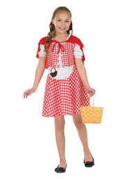 kids red riding hood costume includes red gingham dress with a and cape for fairy tale