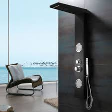 Black Aluminium Shower Panel Shower Column Waterfall And Massage Sanlingo