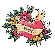 Fototapeta Tetování Srdce Se Stuhou Květiny A Slovo Mom Staré školy Retro